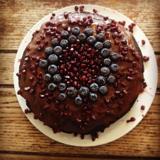 Vegan, Gluten Free Pomegranate, Blueberry and Chocolate Ganache cake